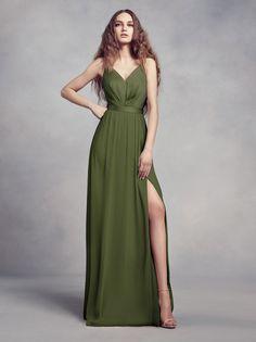 The newest color from Vera Wang, an olive bridesmaid dress for the chic bridal party. Shop this illusion back v-neck bridesmaid dress at David's Bridal