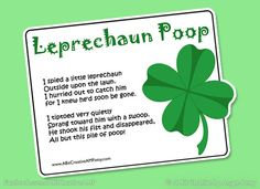 Cute saying for gift bags - Leprechaun Poop St. Patrick's Day Gag Gift  Design - DIY Printable. $3.99, via Etsy.