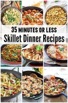 35 minutes or less Skillet Dinner Recipes - including creamy chicken pasta, lemon garlic shrimp, meatballs, ziti and more!