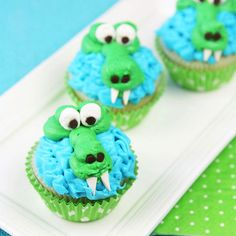 "Let the kids ""chomp"" into these adorable alligator cupcakes. Whip up a batch of frosting and you're almost done!"
