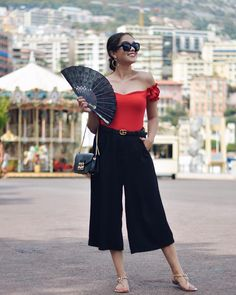 Outfit Inspo with Gucci Belt and Furla Metropolises, red Body, black culotte, blogger outfit, cannes, monte-Carlo, Monaco, nice France Via: https://instagram.com/p/BYL7-O3n_ED/ Selin Mina