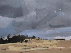 Day of Wind Original Spring Landscape Painting on Paper 9 x