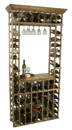 This Wine Cellar Wine Rack holds 96 Bottles of wine and 30 wine glasses.