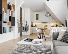 Mieszkanie w Wolsztynie - Mały salon z bibiloteczką z kuchnią z jadalnią, styl skandynawski - zdjęcie od Żaneta Strażyńska