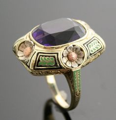 Antique Amethyst Ring - Tri-Gold Ring with Large Amethyst