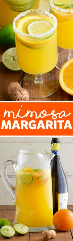These Mimosa Margaritas are super easy to make.  Throw together a giant pitcher in a snap and add something super delicious to your brunch!
