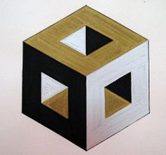 Carved cube detail (Karen Cattoire) Tags: abstract black silver gold 3d drawing geometry cube marker artjournal abstrait hexahedron zentangle metatronscube karencattoire visualr