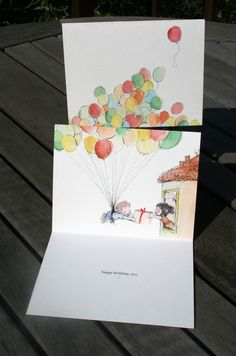 Just did this with DD's thumbprints for balloons for her friend's b-day card (minus the kids and house illus.)