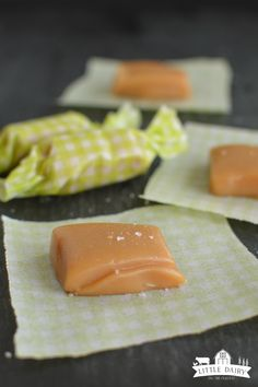 Perfect MIcrowave Caramels are the EASIEST caramels in the world to make, no candy thermometer needed! They are super soft, can be srprinkled with sea salt, or dipped in chocolate. Soft Caramels Recipe, Microwave Caramels, Microwave Recipes, Cooking Recipes, Caramel Recipes, Candy Recipes, Sweet Recipes, Holiday Recipes, Dessert Recipes