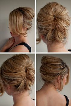 This highly sophisticated updo style has taken the retro-1950's beehive and creatively updated it into an excellent example of contemporary urban chic! The front features an asymmetrical fringe, which falls beautifully in a soft golden curtain over one side of the face, ending in an attractive flick. The other side is kept casual with a …