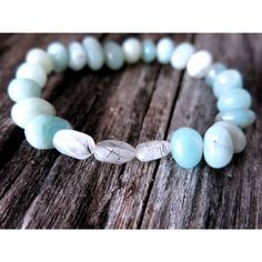 Gemstone Stack Bracelet - Aventurine Angel Hair Rutile Quartz - Tourmalinated Quartz - Aqua - Seafoam - Blue Green - Stackable Stretch