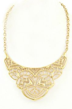 Golden Mosaic Bib Necklace