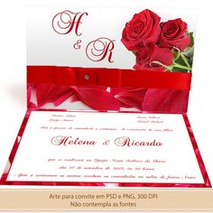 Template para imprimir seu convite de casamento - PSD Layered Template - Invitation Card + Envelope
