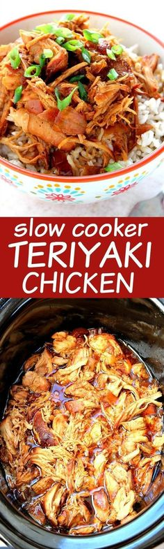 Slow Cooker Teriyaki Chicken - one of the easiest crock pot meals you can make! Chicken thighs or breasts cooked in teriyaki sauce and served over rice. A ton of flavor with minimal prep. You will lo (Teriyaki Chicken Meals) Crock Pot Recipes, Crockpot Dishes, Crock Pot Slow Cooker, Crock Pot Cooking, Slow Cooker Chicken, Slow Cooker Recipes, Cooking Recipes, Crockpot Meals, Chicken Teriyaki Recipe