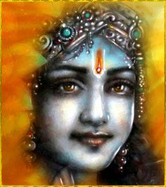 """✨ SHRI KRISHNA ✨Artist: Mahendra DubeyShri Krishna said:""""A person who is fully absorbed in Krishna consciousness is sure to attain the spiritual kingdom because of his full contribution to spiritual activities, in which the consummation is absolute and that which is offered is of the same spiritual nature.""""~Bhagavad Gita 4.24"""