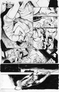 Art Vault — Amazing Spider-Man interior art by Olivier. Comic Book Layout, Comic Book Pages, Comic Book Artists, Comic Artist, Comic Books Art, Bd Comics, Manga Comics, Spiderman Kunst, Comic Kunst