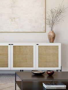 Customize IKEA furniture with Scandinavian design Ikea Tv Console, Tv Cabinet Ikea, Ikea Storage Cabinets, Tv Storage, Ikea Furniture, Custom Furniture, Furniture Makeover, Living Room Storage, Living Room Decor