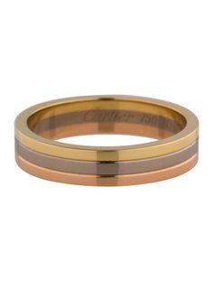 Men's 18K yellow, white and rose gold Cartier Trinity Wedding band. Includes box and certificate of authenticity. Designer size 60