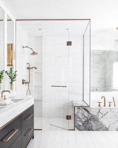 Elegant and luxury bathroom design ideas for a unique home decor. Elegant and luxury bathroom design ideas for a unique home decor. Modern Bathroom Design, Bathroom Interior Design, Decor Interior Design, Bathroom Designs, Modern Marble Bathroom, Marble Bathtub, Luxury Interior, Marble Interior, Modern Design