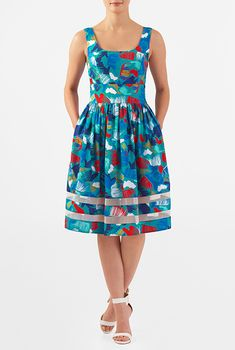 I <3 this Graphic print crepe tulle inset dress from eShakti