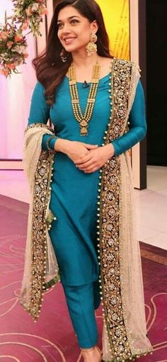 You can use you wedding dupatta with a contracting blue rawsilk suit Pakistani Wedding Outfits, Pakistani Dresses, Indian Dresses, Indian Outfits, Wedding Salwar Suits, Indian Attire, Indian Wear, Eastern Dresses, Indian Designer Suits