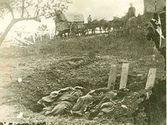 Partially buried Confederate dead from the South Carolina (Jovie's regiment) on the Rose farm, fatalities of the heavy fighting in the Peach Orchard. The burial was interrupted by the arrival of Union troops. Photograph taken by Alexander Gardner. Historical Romance, Historical Fiction, American Civil War, American History, Gettysburg National Military Park, Gettysburg Battlefield, National Cemetery, Civil War Photos, Us History