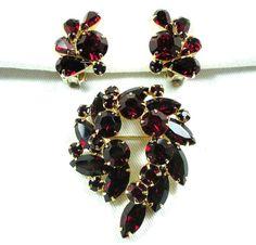 Vintage Weiss Red Rhinestone Brooch & Earrings by GreenDesertArt, $70.00