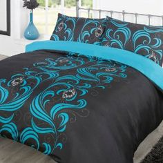Teal Comforter King | Duvet Cover Bedding Set - Ava Black/Teal - King: Amazon.co.uk: Kitchen ...