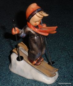 """Skier"" Goebel Hummel Figurine #59 TMK5 Boy Downhill Skiing Birthday Gift!"