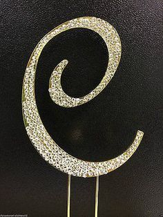 Gold Letter Initial C Birthday Crystal Rhinestone Cake Topper C Party Monogram