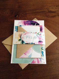 Dotty Floral Wedding Invitation Suite by ShopPaperGarden on Etsy
