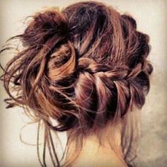 Photo: messy french braid bun Categories: Hair & Beauty Added: Description: messy french braid bun is creative inspiration for us. Get more photo about Hair & Beauty related with messy french braid bun by looking at photos gallery at the bottom of. Popular Hairstyles, Pretty Hairstyles, Braided Hairstyles, Wedding Hairstyles, Braided Updo, Bun Braid, Messy Updo, Braid Hair, Messy Buns