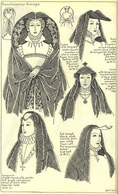 """Renaissance Europe, Chapter plate """"Mode in Hats and Headdresses"""" by R Turner Wilcox Historical Hairstyles, Medieval Hairstyles, Hat Hairstyles, Mode Renaissance, Renaissance Clothing, Renaissance Fashion, Historical Costume, Historical Clothing, Vintage Outfits"""