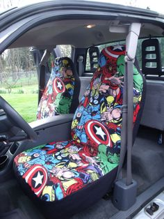 1 Set of Marvel Comic Print  Car  Seat Covers and  by ChaiLinSews, $65.00