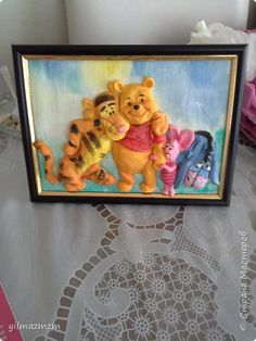 Картина панно рисунок Лепка Винни и друзья из соленого теста мой первый МК Гуашь Тесто соленое фото 1
