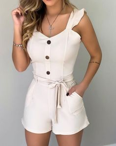 Frill Sleeve Sweetheart Neck Tied Romper Women's Best Online Shopping - Offering Huge Discounts on Dresses, Lingerie , Jumpsuits , Swimwear, Tops and More. Trendy Outfits, Fashion Outfits, Cute Outfits, Trend Fashion, Womens Fashion, Style Fashion, Two Piece Rompers, Rompers Women, Women's Rompers