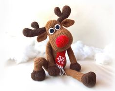 Crochet Christmas Deer Patterns Rudolph Toy Reindeer di RenaTienda