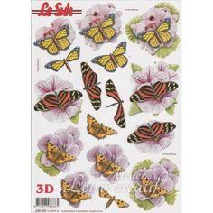 Feuille 3D papillon prédécoupée A4 680.006 pour faire une belle carte en 3D à l'occasion d'une fête ou d'un anniversaire