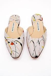 MANOLO-BLAHNIK-Red-Yellow-Blue-Paint-Splatter-Grey-Suede-MULE-EURO-38-650-NIB #manoloblahnikyellow #manoloblahnikmules