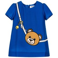 Baby girls royal blue, short-sleeved dress by Moschino Baby, Made in smooth polyester crêpe with a silky lining. With a teddy and belt print on the front, it has a round neckline and fastens with a concealed zip at the back. Future Daughter, Crepe Dress, Baby Kids, Baby Baby, Moschino, Royal Blue, Kids Fashion, Girl Outfits, Dresses With Sleeves