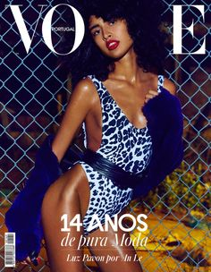 Model Luz Pavon poses in Norma Kamali swimsuit with Adrienne Landau fur jacket for Vogue Magazine Portugal November 2016