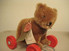Hermann Vintage Teddy Bear on Wheels  Born in the 1980s