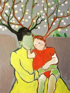 Mother and Child.  Reproduction of original acrylic painting.  lovetobefelt.etsy.com