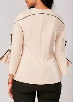 Flare Sleeve Zipper Back Bowknot Embellished Blouse | Rosewe.com - USD $28.66