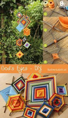 """Das God's Eye oder Auge Gottes ist eine traditionelle Bastelarbeit aus Südamerika. Die Bedeutung und Technik variiert leicht von Region zu Region. Die Idee dahinter ist leuchtend bunte Garne für die eckigen Sterne zu verwenden, die dann als """"Auge Gottes"""" über uns wachen. Besonders kleinen Kindern und Babies sollen die Augen Gottes Glück und Schutz bringen. So ist es auch ein wunderschönes Taufgeschenk oder eine Idee für ein Mobile über einer Kinderkrippe. Meine God's Eyes hängen jetzt als…"""