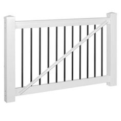 H x 5 ft. W White Vinyl Railing Gate Kit with Colonial - The Home Depot Stair Railing Kits, Vinyl Railing, Deck Railings, Deck Gate, Vinyl Gates, Post Sleeve, Self Closing Hinges, Gate Handles, Home Depot Store