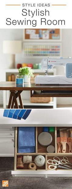 Create a dedicated space for your favorite crafting hobbies. Spread out and get comfortable with a large table big enough to hold your sewing machine and fabrics. It's important to stay organized, so keep your everyday tools and materials in designated, easy-to-reach spots. Now you can tackle your next project in an inspiring and perfectly designed sewing room. Click to explore clever and accessible storage for your crafting needs.