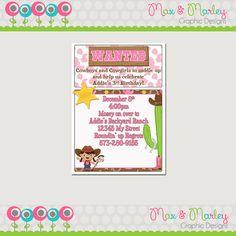 Cowgirl Birthday Party Invitation - Wild West Birthday - Sheriff Birthday Party Invitation - Cowboy Printable