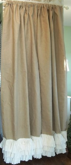 Ruffled bottom Burlap Curtain Panel by SimplyFrenchMarket on Etsy