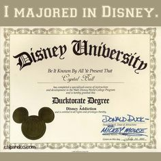 I majored in Disney. This is the most important degree. Engineering? Pfft